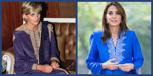 Kate Middleton wearing a blue traditional outfit on an official trip to Pakistan in October 2019.