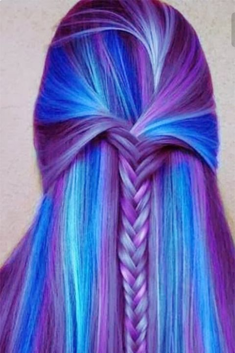 blue purple fishtail braid