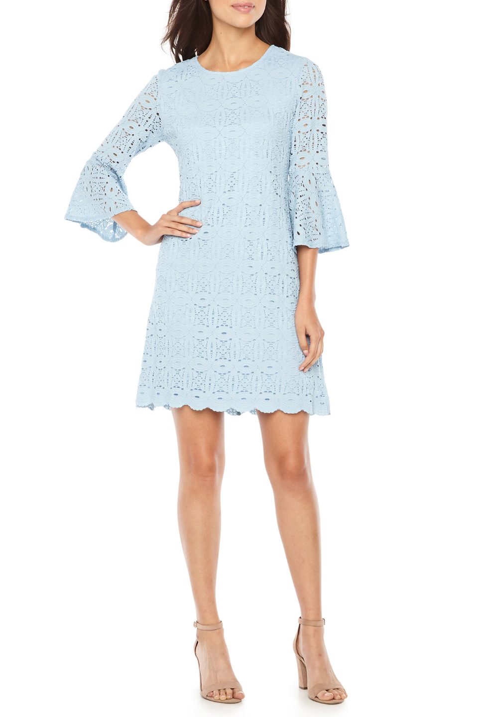 bell sleeve dusty blue shift dress