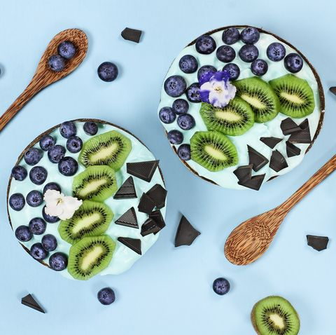 Blue Spirulina and Berry Smoothie Bowl with Blueberries Kiwi and Chocolate