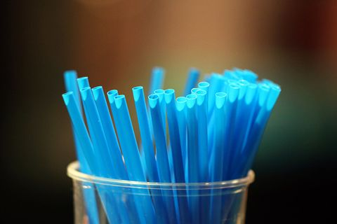 Blue straws in a glass. France.