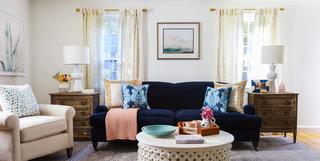Blue Velvet Sofa In Living Room