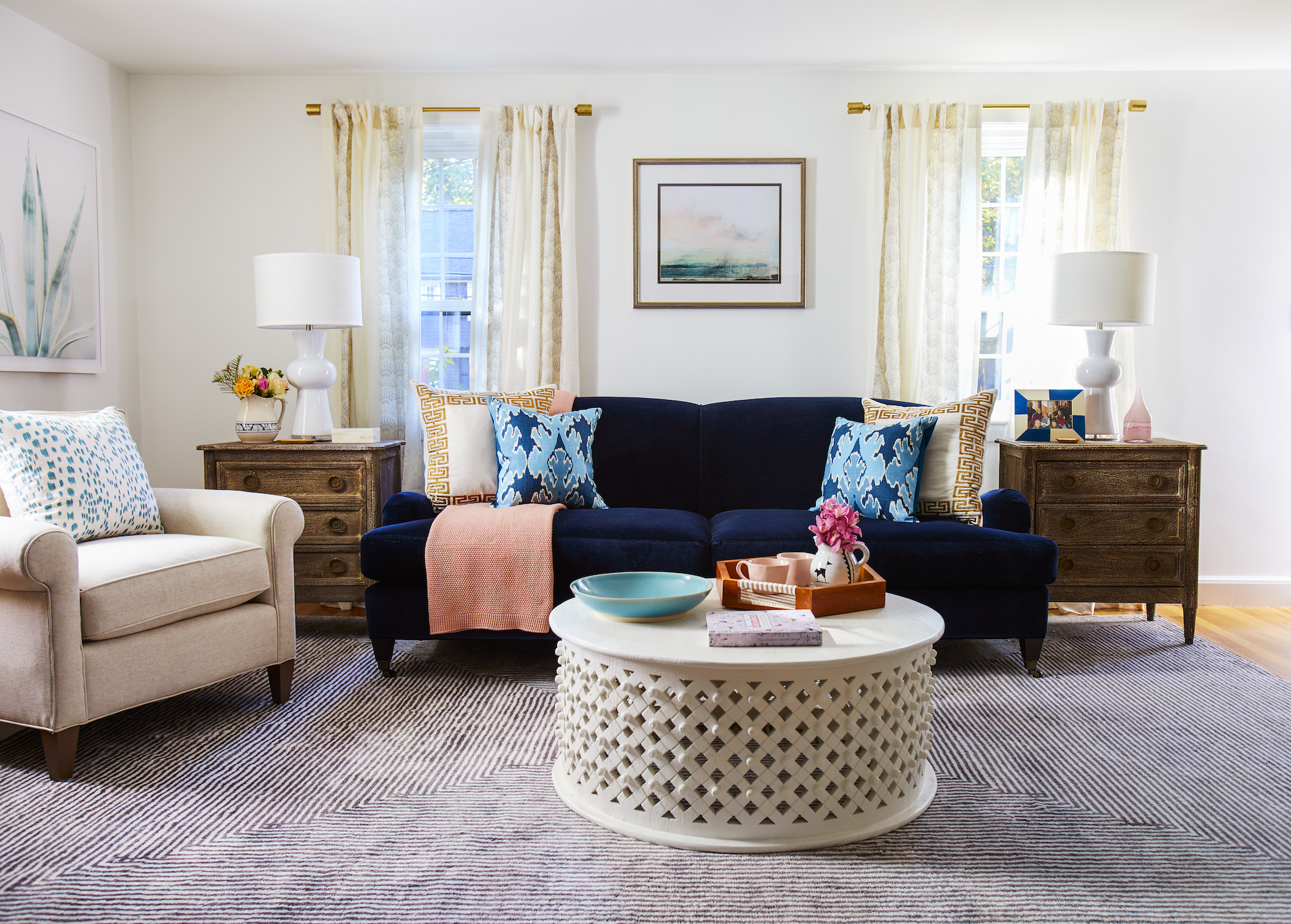 Charming Blue Velvet Sofa In Living Room