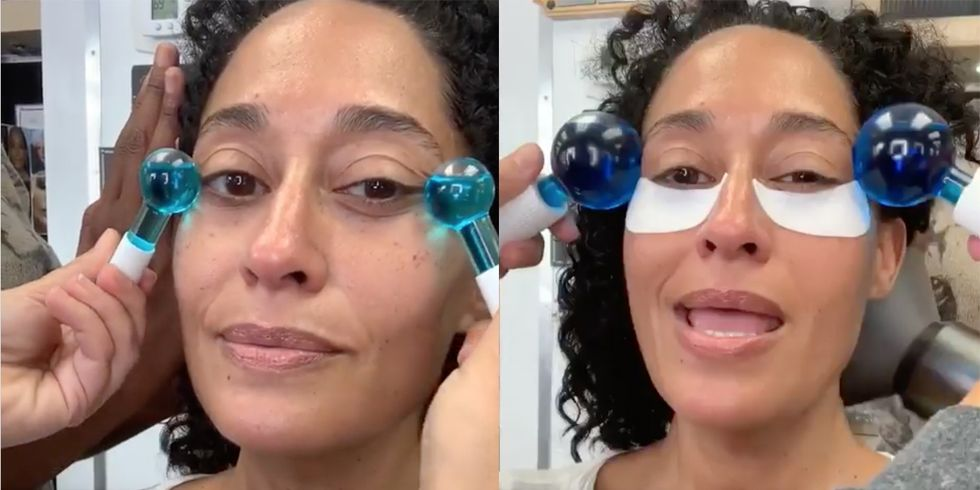 "Why Tracee Ellis Ross Swears By These ""Blue Balls"" for a ""Tight Chin"""