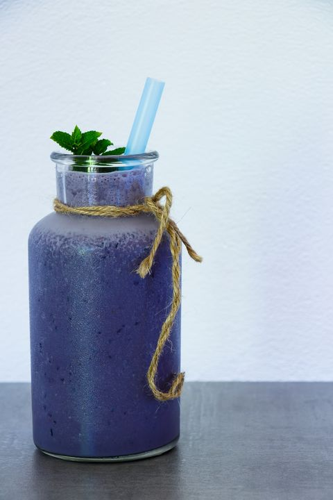 Blueberry smoothie in jar