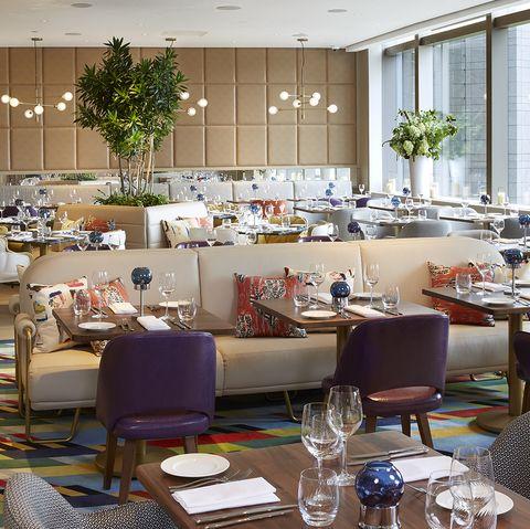 Restaurant, Building, Room, Furniture, Table, Interior design, Cafeteria, Dining room, Brunch, Chair,