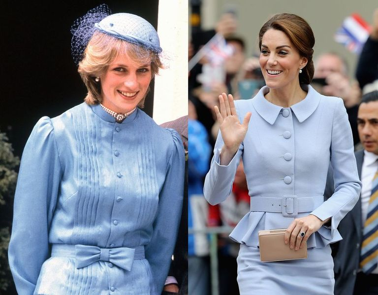 Princess Diana wearing a sky blue dress in 1983, and Kate wearing a light blue Catherine Walker look while visiting the Netherlands in October 2011.