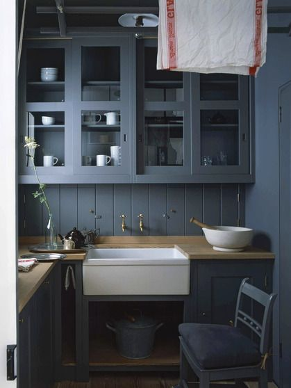 bluegray kitchen cabinets