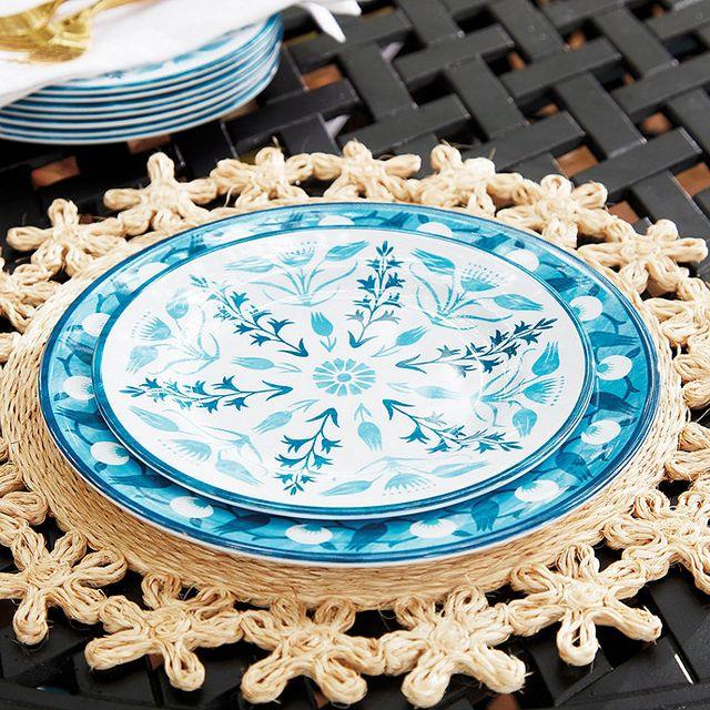 blue melamine plates