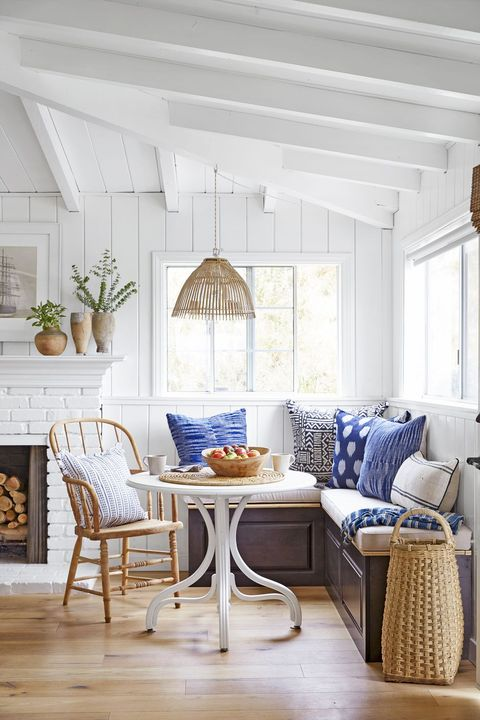Blue and white banquette