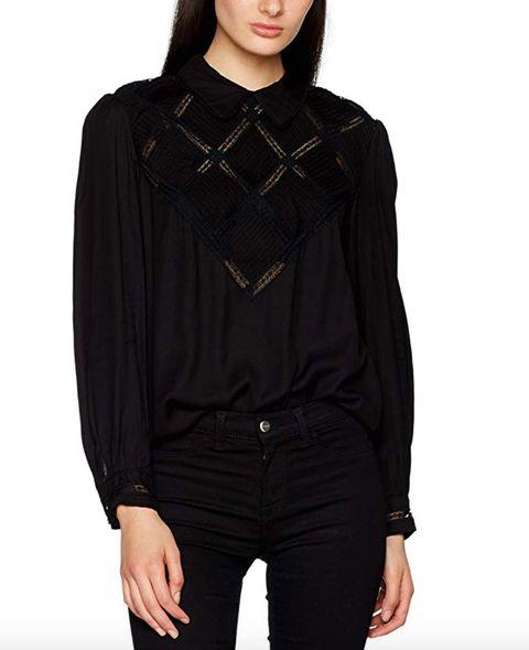 Clothing, Black, Sleeve, Outerwear, Neck, Collar, Hood, Blouse, Shoulder, Velvet,