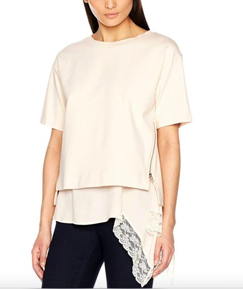 Clothing, White, Sleeve, Shoulder, Neck, T-shirt, Blouse, Top, Beige, Joint,