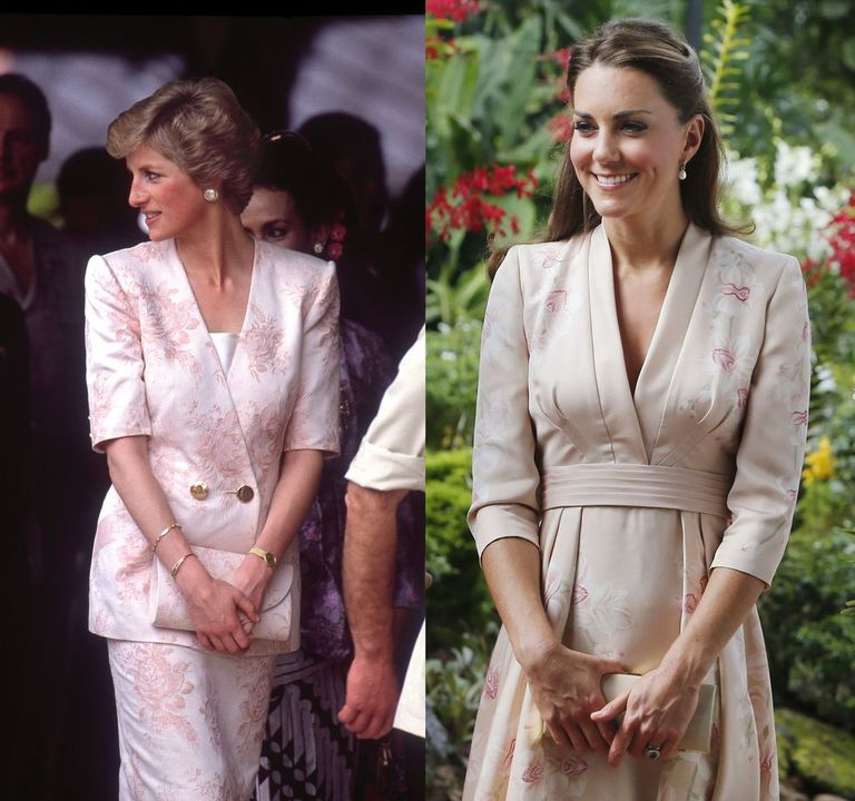 Diana in a blush brocade Catherine Walker look while in Indonesia in 1989, and Kate in a blush floral dress while touring Singapore in 2012.