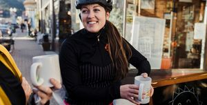 cyclist drinking coffee