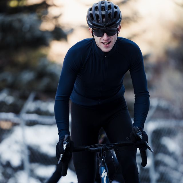 cyclist riding in the winter