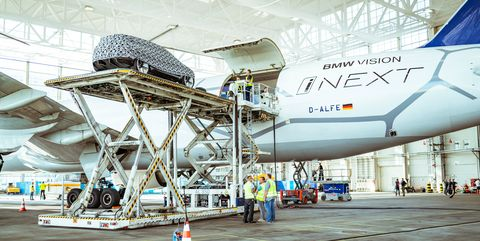 BMW Vision iNext loading into Boeing plane