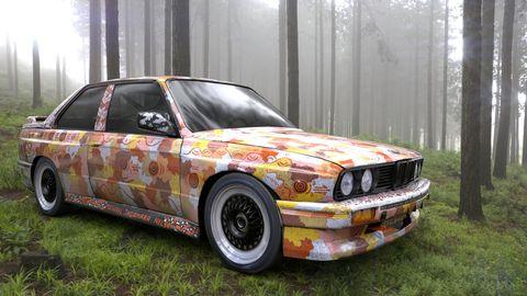 australian artist michael jagamara nelson's bmw art car