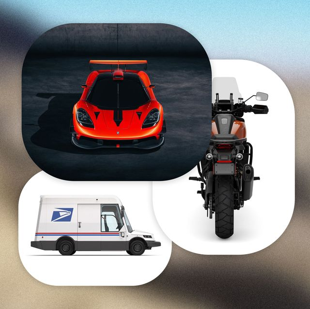 harley davidson motorcycle, usps new mail truck, and t50s niki lauda