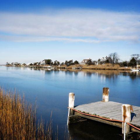 boat dock and oak island, babylon, long island, ny
