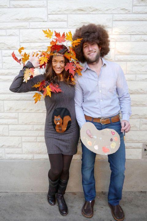20 diy couple halloween costumes easy homemade costume ideas for bob ross happy tree couple halloween costume solutioingenieria Image collections