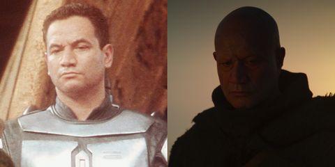 jango fett vs his clone son boba helmet less