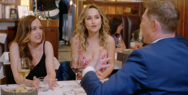 bobby flay, giada and veronica de laurentiis speak during a scene from bobby and giada in italy