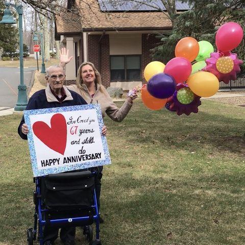 Balloon, Party supply, Community, Fun, Yard, Grass, Tree, Recreation, House, Lawn,
