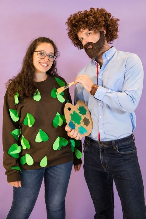 bob ross and a happy little tree halloween costume