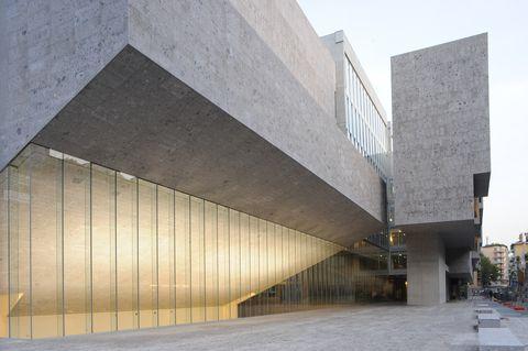 Architecture, Reinforced concrete, Building, Brutalist architecture, Facade, Wall, Line, Concrete, Material property, Cement,