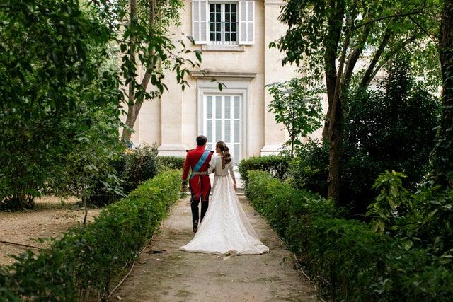 madrid, spain   may 22 carlos fitz james stuart and belen corsini celebrate their wedding at the palacio de liria on may 22, 2021 in madrid, spain photo by alejandra ortiz  casa de alba  efe