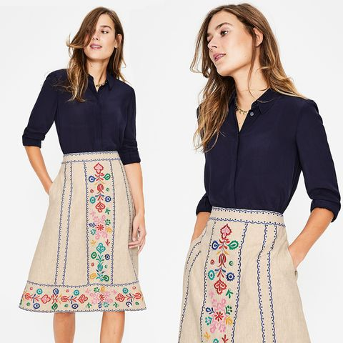 d88abddef4 Fans are in love with this stunning embroidered Boden midi skirt