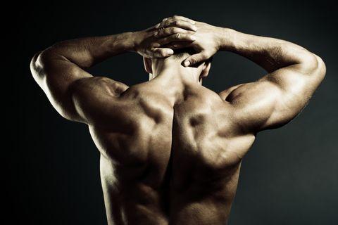 Body Builder Demonstrating his Muscular back