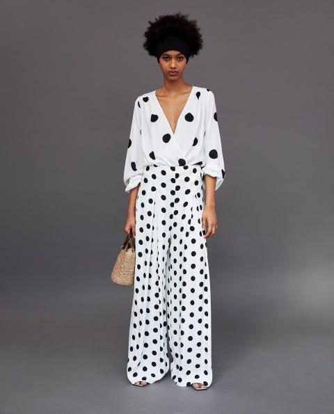 Clothing, White, Pattern, Polka dot, Fashion, Design, Sleeve, Nightwear, Dress, Outerwear,