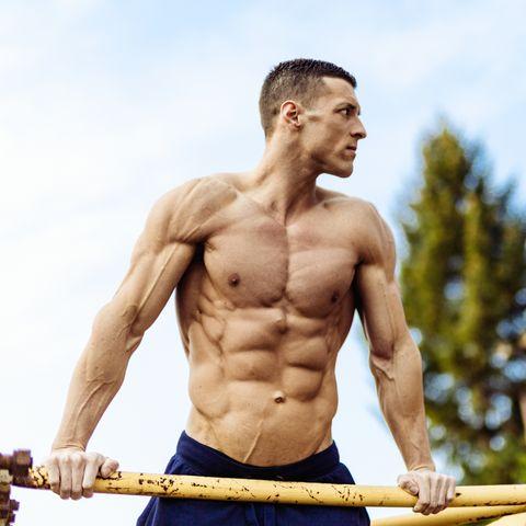 bodybuilder doing dips