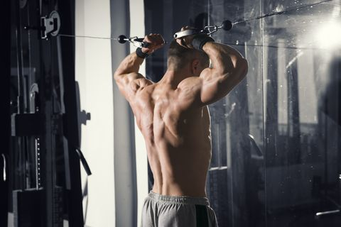 Bodybuilder workout on trainer in gym, muscular male back