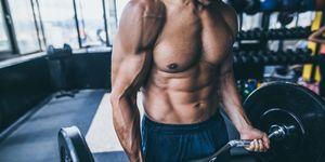 Bodybuilders abdominal muscles