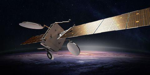 Satellite, Vehicle, Aerospace engineering, Airplane, Aviation, Aircraft, Propeller, Spacecraft, Space, Atmosphere,