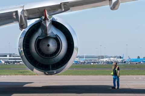 amsterdam, netherlands   april 26 a maintenance engineer is seen near a klm boeing 747 airplane engine at schiphol international airport amid the coronavirus outbreak on april 26, 2020 in amsterdam, netherlands due to the current covid 19 crisis there is a lot less flight traffic than would be expected under normal circumstances photo by wim wobbesbsr agencygetty images