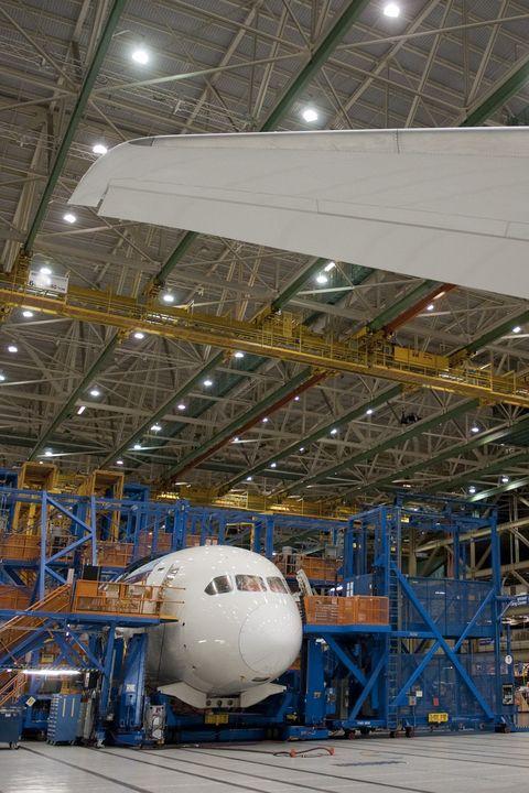 Aerospace engineering, Hangar, Airplane, Industry, Airliner, Vehicle, Factory, Engineering, Aircraft, Aviation,