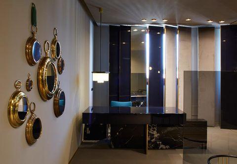 Floor, Interior design, Ceiling, Fixture, Interior design, Brass, Light fixture, Metal, Ceiling fixture, Bronze,