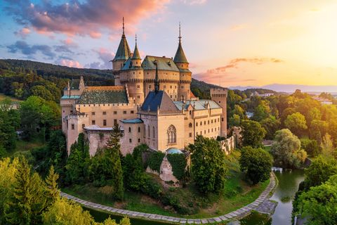 bojnice, slovakia   august 30, 2019  old beautiful medieval castle in bojnice, slovakia, europe unesco heritage landmark