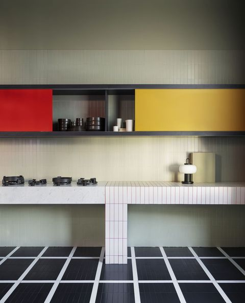 graphic metro tiled kitchen by studio ho