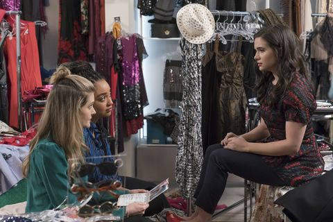 """the bold type """"breaking through the noise"""" when jane and jacqueline's exposé makes an impact, jacqueline takes a hard look at how she can make scarlet an industry leader that practices what it preaches sutton celebrates the end of her design seminar with a fashion show but surprises herself with the results jane deals with an emotional fallout amidst a career high kat makes a choice not to run from her problems anymore this episode of """"the bold type"""" airs june 11 800 901 pm edt on freeform freeformpanagiotis pantazidismeghann fahy, aisha dee, katie stevens"""