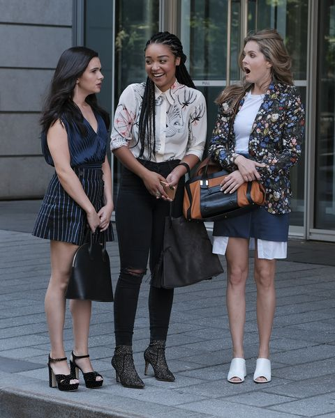 """the bold type """"the new normal"""" picking up right after the heartbreak, romances and uncertainties from the season two finale in paris, jane, kat and sutton are back in new york city and dealing with the aftermath of some major decisions scarlet magazine brings in patrick duchand to run the digital branch, effectively knocking jacqueline down to only running the print magazine meanwhile, jane has picked her guy, but is frustrated that a man is put in charge of a women's magazine kat struggles to keep up happy appearances on social media and as a speaker at the scarlet summit, while secretly suffering heartache, and sutton and richard enjoy their romance in the limelight and discuss moving in together this episode of """"the bold type"""" airs tuesday, april 9 800 901 pm edt on freeform freeformphilippe bossekatie stevens, aisha dee, meghann fahy"""