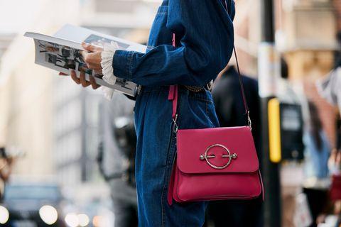 Street fashion, Bag, Red, Fashion, Shoulder, Leather, Snapshot, Handbag, Jeans, Denim,