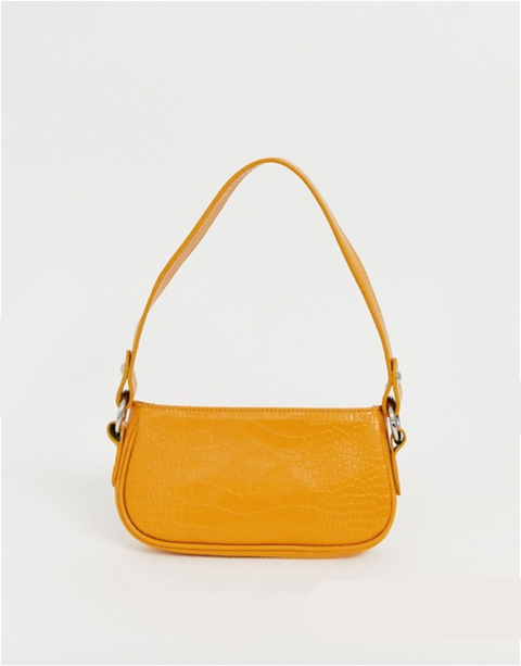 Handbag, Bag, Shoulder bag, Yellow, Fashion accessory, Orange, Tan, Hobo bag, Material property, Leather,