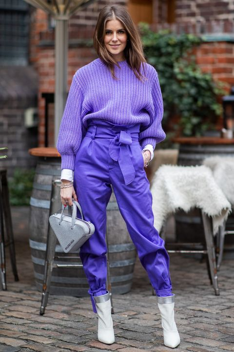 Purple, Blue, Cobalt blue, Clothing, Street fashion, Electric blue, Lavender, Violet, Fashion, Footwear,