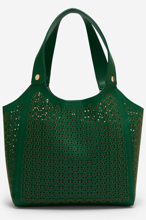 bolso verde calado de cortefiel