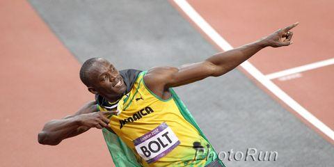 Usain Bolt in his signature pose