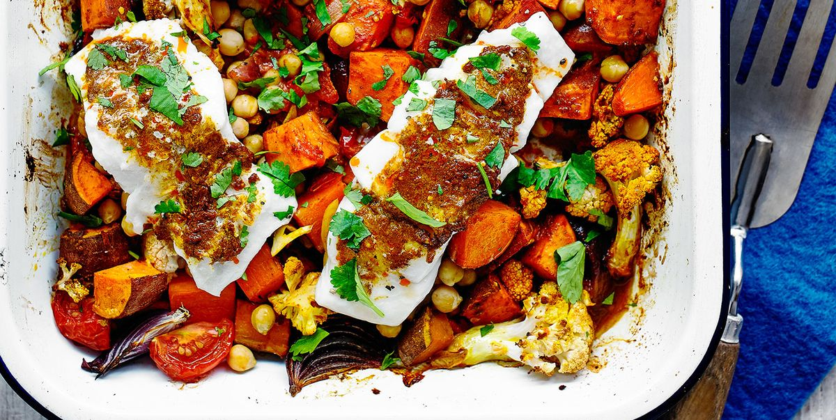 One-pot sweet potato and cod traybake